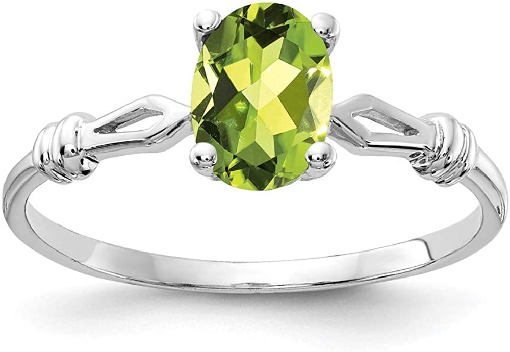 Solid 14k White Gold 7x5mm Oval Peridot Green August Gemstone Engagement Ring