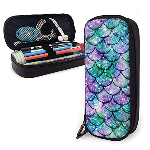 Estuche Ombre Glowing Mermaid Tails Pencil Case Big Capacity Pen Storage Bag Pouch Holder Box Leather Stationery Organizer With Zippers For School Office Supplies Teen Girl Adult