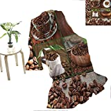 "Flyerer Brown brookstone nap Blanket Collage of Coffee Beans in Cups and Bags with Green Leaves on Wooden Table Photo Gifts for Teenage Girls  60""x36"" Brown Green"