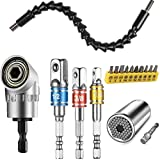 Flexible Drill Bit Extension and Universal Socket Wrench Tool Set, 105° Right Angle Drill Attachment, 1/4 3/8 1/2' Universal Socket Adapter Set, Screwdriver Bit Kit