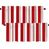 BaoNews Red Christmas White Kitchen Valances Window Curtain, Candy Cane Christmas Stripes Blackout Decoration Small Window Valances Curtains Drapes for Kitchen Bedroom, 52 X 18 Inch