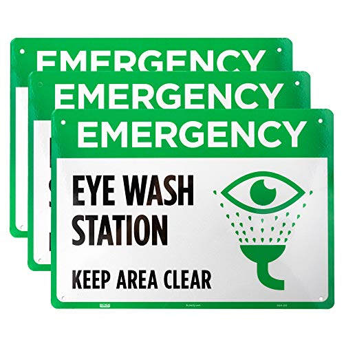 Emergency Eye Wash Station Sign 3-Pack - 10' x 7' Reflective Aluminum Safety Warning Sign for OSHA Compliance in STEM Science Classroom Area and Chemical Hazard Research Laboratories