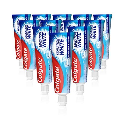 Colgate Zahnpasta Sensation White, 12 x 75 ml - Zahncreme für weißere Zähne, erfrischt den Atem