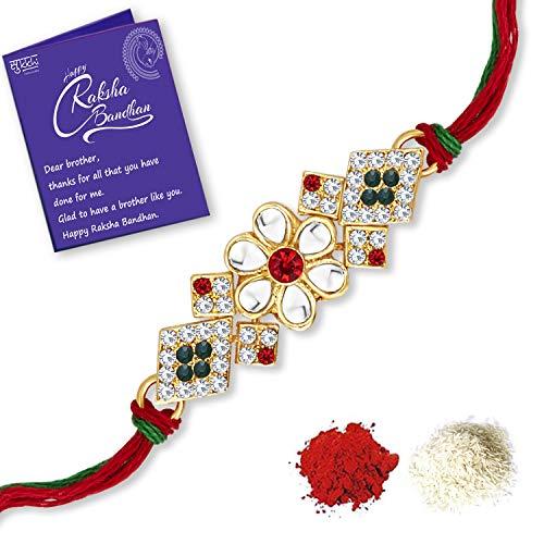 Sukkhi Awesome Gold Plated Floral Rakhi with Roli Chawal and Raksha Bandhan Greeting Card for Men (RAK100001)