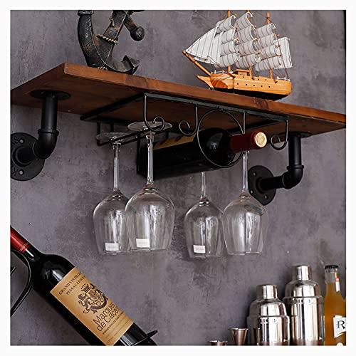 YaNanHome Wall Mounted Wine Rack,Estante de vino simple, adornos de gabinete de vino de moda colgantes para colgar al revés, soporte de copa de vino de soporte alto/blackThree slots