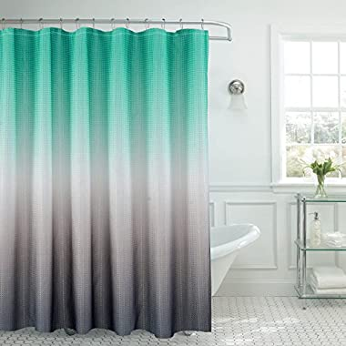 Creative Home Ideas Ombre Textured Shower Curtain with Beaded Rings, Turquoise/Grey