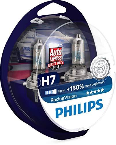 Philips RacingVision +150% Bombilla para Faros Delanteros H7 12972RVS2, 2 Piezas