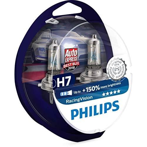 Philips 12972RVS2 Racing Vision +150% Lampadina Fari Auto, H7, Temperatura della luce 3500K, 12V, 55W, Confezione da 2
