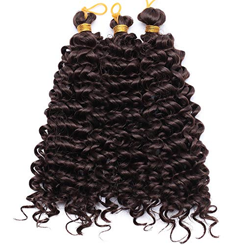 Treccine Extension Crochet di Treccia Capelli Finti Kinky Curly Treccine Extension Ondulate Braids Extensions Afro Treccia 20cm–Cioccolato