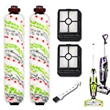 Replacements Part for BISSELL CrossWave All in One Wet Dry Vacuum, CrossWave PET PRO and CrossWave Cordless Accessories (2 Multi-Surface Pet Brush Rolls+2 Filters)