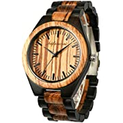 Wooden Men Watches, shifenmei Natural Handmade Wood Watch Analog Japanese Quartz Movement Wood Wrist Watch for Mens with Exquisite Box (A-Black 01)