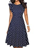 ihot Women's Vintage Ruffle Floral Flared A Line Swing Casual Cocktail Party Dresses