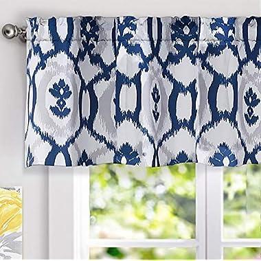 DriftAway Evelyn Ikat fleur/Floral Pattern Window Curtain Valance, 52 x18 (Navy Blue)