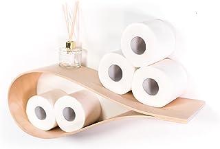 Porte-papier toilette mural en bois flottant pour salle de bain