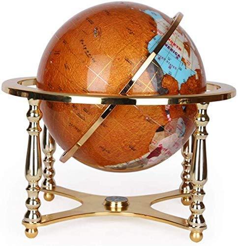 HIGHKAS Vintage World Globe rotierende Erde Geographie Globus Legierung Basis Antik Büro dekorative Desktop Globus, Natursteine, 13 Zoll