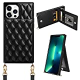 Coolden Designed for iPhone 13 Pro Max Case Wallet Quilted Leather Women Luxury Phone Cover Crossbody Strap Kickstand Slim Square Armor Card Holder Slots Case for iPhone 13 Pro Max 6.7 inch Black