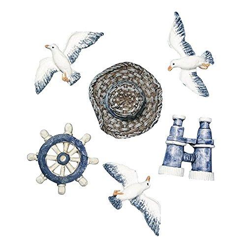 Rayher 8606600 Maritime Streuteile Strandgut, aus Polyresin, Btl. 6 Stück, 2 – 4 cm, perfekt für maritime Dekorationen