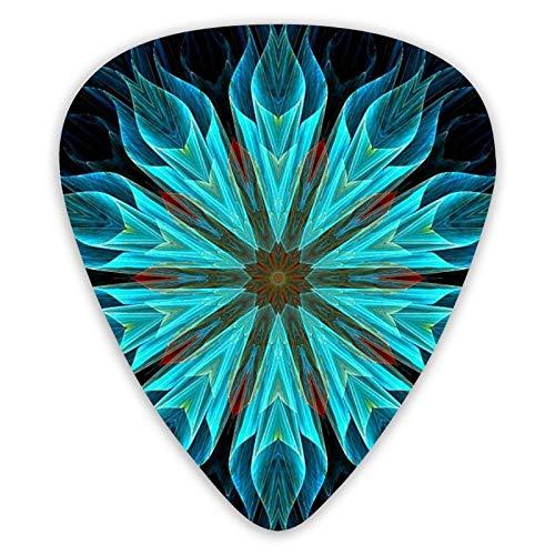 Púas de guitarra Púas de ukelele de flores abstractas azules 12 piezas, incluidas 0,46 Mm, 0,71 Mm, 0,96 Mm Guitarra acústica