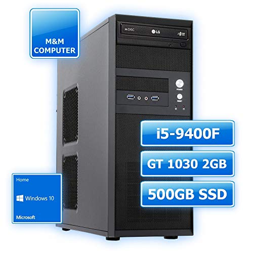 M&M Computer Dresden PC, Intel Core i5-9400F 6 Kerne, Grafikkarte NVIDIA GT1030 2GB, 480GB SSD, 8GB DDR4 RAM, MS-Windows 10 Home, Multimedia, Home & Office