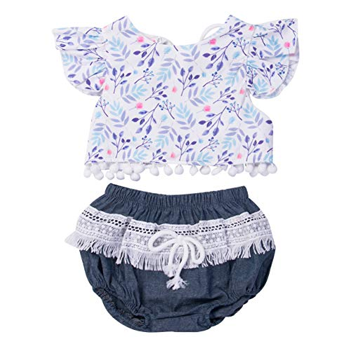 Hailouhai pasgeboren baby meisje korte mouw ruches kwastballen bloemen vest tops+ kant korte broek 2 stks zomer outfit