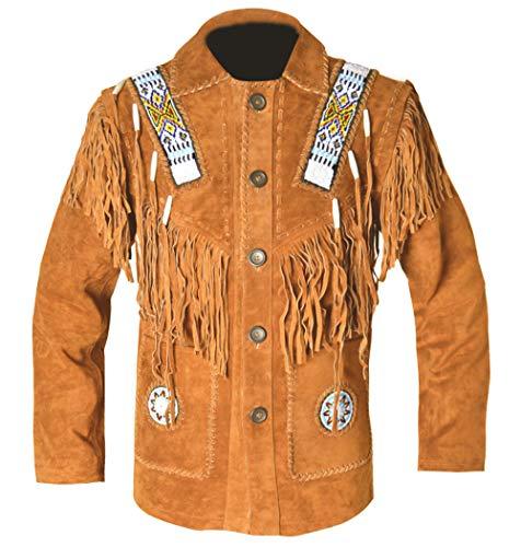 REDWOLF Western Cowboy Style - Chaqueta de Piel con Flecos y Hueso para Hombre D9 XXS-5XL Marrón Camel XX-Small