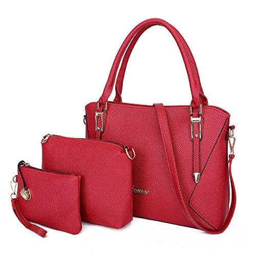 Women's Handbags Weekend Shopping Big Work Shoulder Bags Tote Satchel Hobo Purse for Women 3pcs Purse Set(Red)