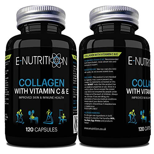 Hydrolized Marine Collagen 1000mg   Vitamin C and E   Healthy Skin   Anti-Ageing   Supplement   Made in UK   E-Nutrition