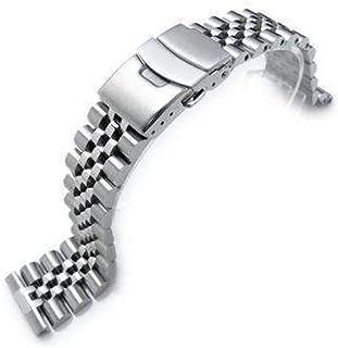 Cinturino per orologio Strapcode 22mm Super Jubilee in acciaio inossidabile 316L, solido dritto, chiusura per subacqueo