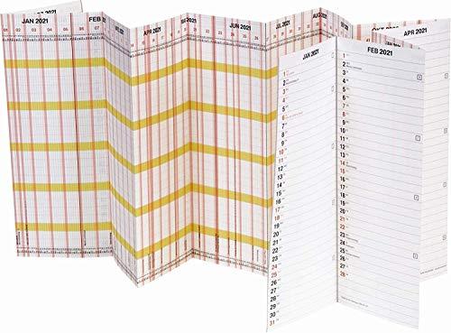 BRUNNEN 1070135001 Wandkalender/Plakatkalender Personal-/Urlaubsplaner Modell 701 Planorama, 1 Seite = 15 Monate, 1380 x 295 mm (aufgeklappt), Papier, Kalalendarium 2021