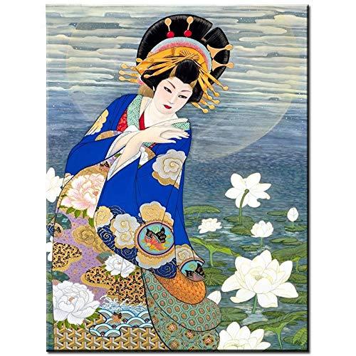 Puzzle 1000 Piezas Hermosa Geisha Japonesa Puzzle 1000 Piezas educa Juego de Habilidad para Toda la Familia, Colorido Juego de ubicación.50x75cm(20x30inch)