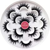 Veleasha Luxurious 5D Faux Mink Lashes 100% Handmade False Eyelashes for Make Up 7 Pairs | Queen