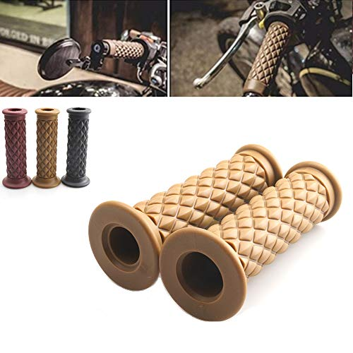 Motorcycle Vintage Non Slip Handlebar Grips 7/8' 22mm 1'24mm Rubber Handle Grips For Kawasaki Honda Yamaha Triumph (Yellow Open End)