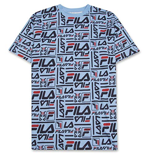 Fila Mens Big and Tall Cotton Jersey Fashion Allover Print Logo Short Sleeve T Shirt Light Blue
