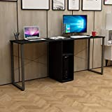 DlandHome Double Computer Desk 78 inches Extra Large Home Office Desk Multifunction Gaming Table Workstation for Home Office, Walnut Black LD-H01
