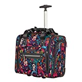 Lily Bloom Designer 15 Inch Carry On - Weekender Overnight Business Travel Luggage - Lightweight 2- Rolling Wheels Suitcase - Under Seat Rolling Bag for Women (Wildwoods)