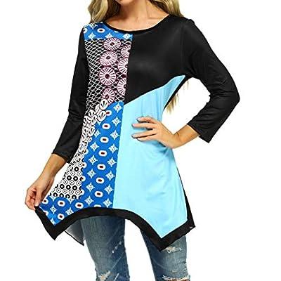 Oldlover-Women Long Sleeve Floral Print Color Block Blouse Tunics Irregular Hem Asymmetrical Tunic Tops O-Neck T-Shirt