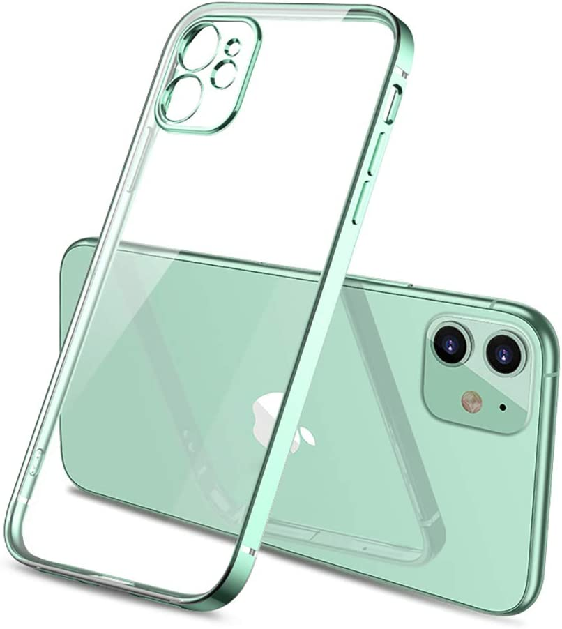 for iPhone 11 Clear Case,Square Plating Bumper Crystal Clear Phone Cases for iPhone 11 Case Ultra Thin Soft TPU Phone Back Cover (Green)