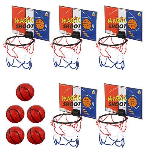 Amosfun 5pcs Mini Basketballkorb Spielzeug Klassische Spielzeug Eltern Kind Interaktives Spielzeug für Schlafzimmer Badezimmer Toilette Büro Desktop Basketball Spiel Gefälligkeiten