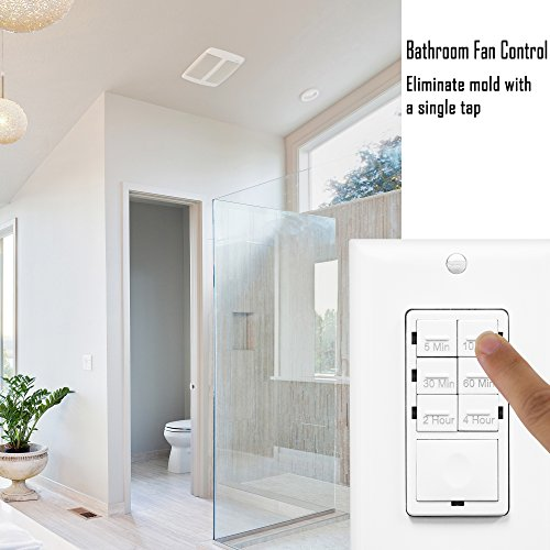 ENERLITES Countdown Timer Switch, Fan Switch Timer, Wall Light Timer Switch, Bathroom Timer Switch, 5 min – 4 hours, Night Light LED Indicator, Neutral Wire Required, UL Listed, HET06-I, Ivory