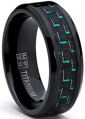 Ultimate Metals anello di fidanzamento in titanio nero da uomo - fede nuziale in titanio con fibra di carbonio nero e verde, 8mm,