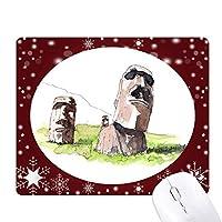 イースター島のモアイ像 オフィス用雪ゴムマウスパッド