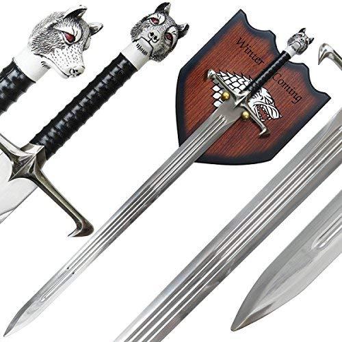 g8ds® Jon Longclaw Haus Stark Schwert mit Wandhalterung Game of Thrones
