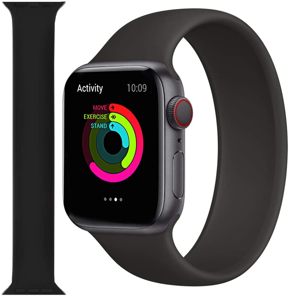 Kolumb Solo Loop Stetch Strap Compatible with Apple Watch Band 38mm 40mm 42mm 44mm, no Buckles Elastics Silicone Sport Replacement Wristband for iWatch Series SE/6/5/4/3/2/1 (Black 42mm 8#)