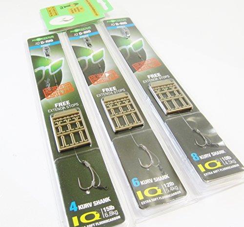 FTD Korda IQ D-Rigs an Flurocarbon (mit Widerhaken) fürs Karpfenangeln, Auswahl (enthält Größen 4, 6und 8), inklusive 10FTD-Haken aus Nylon, 3 Stück