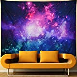 Galaxy Tapestry Purple Starry Night Tapestry 3D Cosmic Space Tapestry Mystic Stars Tapestry Wall Hanging Psychedelic Hippie Tapestry for Ceiling Living Room Dorm Decor