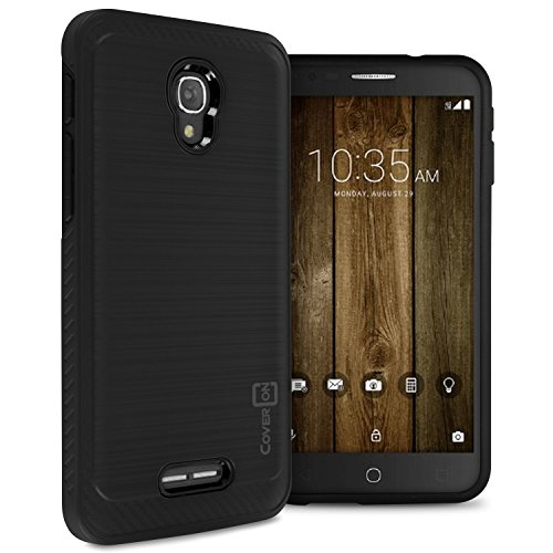 Alcatel Fierce 4 Case, Alcatel One Touch Allura Case, Alcatel Pop 4 Plus, CoverON [Chrome Series] Faux Brushed Metal Protective Hybrid Phone Cover for Alcatel Fierce 4 OneTouch Allura Pop 4+ -Black