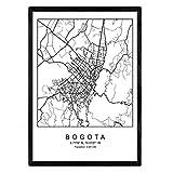 Nacnic Blatt Bogota Stadtplan nordischen Stil schwarz und