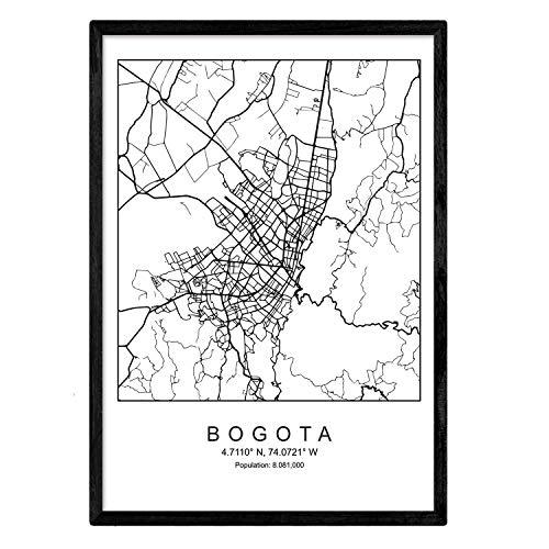 Nacnic Lámina Mapa de la Ciudad Bogota Estilo nordico en Blanco y Negro. Poster tamaño A3 Sin Marco Impreso Papel 250 gr. Cuadros, láminas y Posters para Salon y Dormitorio