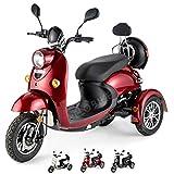 VELECO Scooter électrique 3 roues Rétro Senior Handicapé Adulte 650W ZT63 (Rouge)