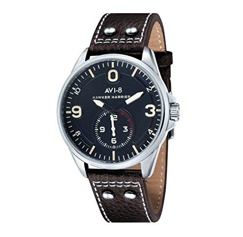 Avi-8 AV-4002-02 - Reloj de Cuarzo para Hombre con Esfera analógica Negra y Correa de Cuero marrón
